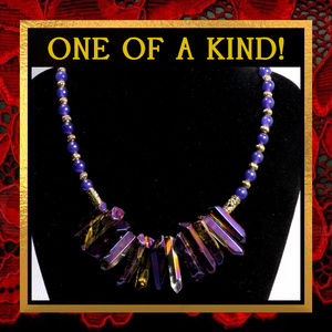 Purple Quartz Spike Gemstone Necklace #323